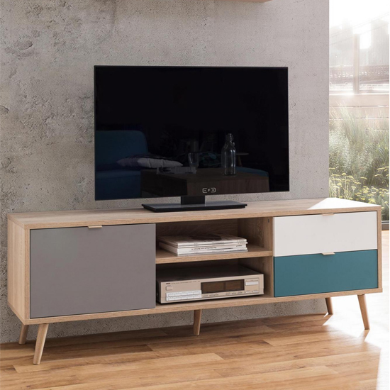 Sorio TV Unit In Sonoma Oak And Tricolor With 1 Door 2 Drawers