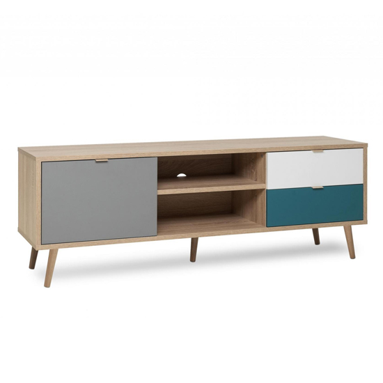 Sorio TV Unit In Sonoma Oak And Tricolor With 1 Door 2 Drawers_2