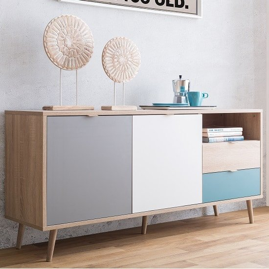Sorio Sideboard In Sonoma Oak And Tricolor With 2 Doors_1