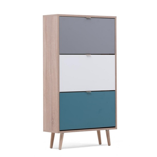 Sorio Shoe Cabinet In Sonoma Oak And Tricolor With 3 Flap Doors