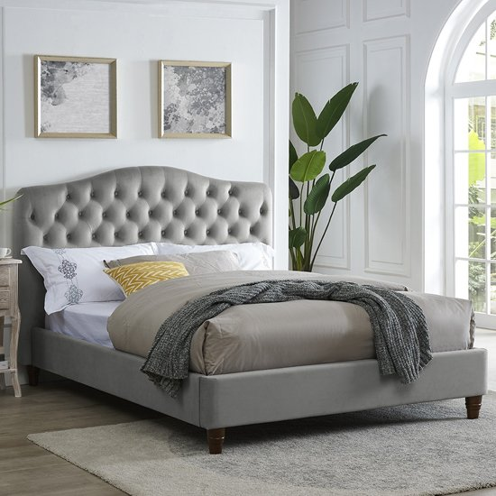 Sorrento King Size Fabric Bed In Cappuccino