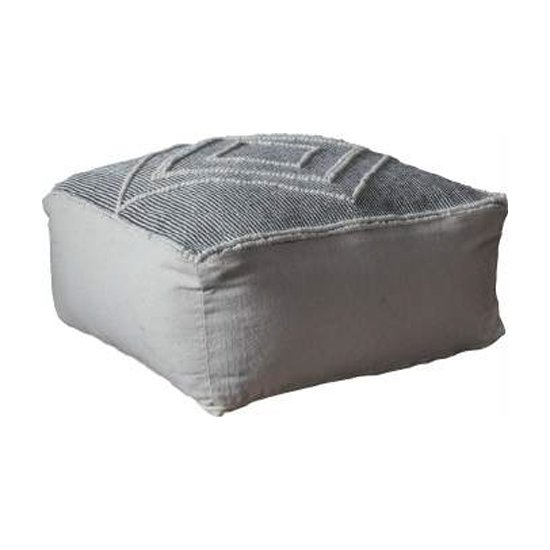 Soto Fabric Upholstered Square Pouffe In Grey