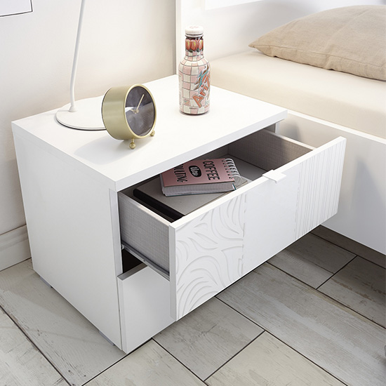 Soxa 2 Drawers Serigraphed White Wooden Nightstands In Pair_3