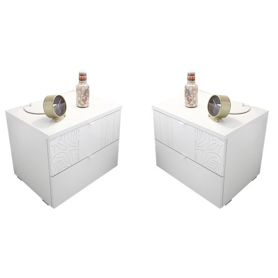 Soxa 2 Drawers Serigraphed White Wooden Nightstands In Pair_1