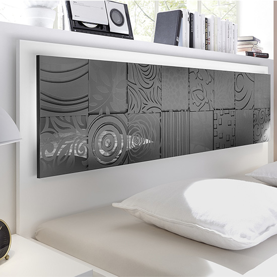 Soxa LED Wooden King Size Bed In Serigraphed Grey_5