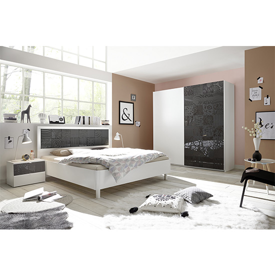 Soxa LED Wooden King Size Bed In Serigraphed Grey_6