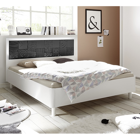 Soxa LED Wooden King Size Bed In Serigraphed Grey_1