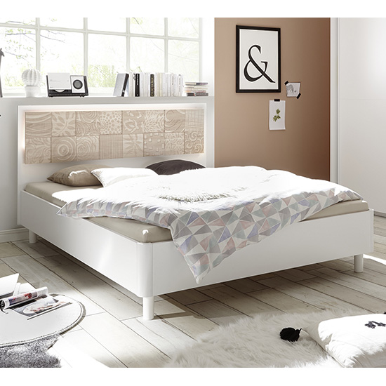 Soxa LED Wooden King Size Bed In Serigraphed Sonoma Oak
