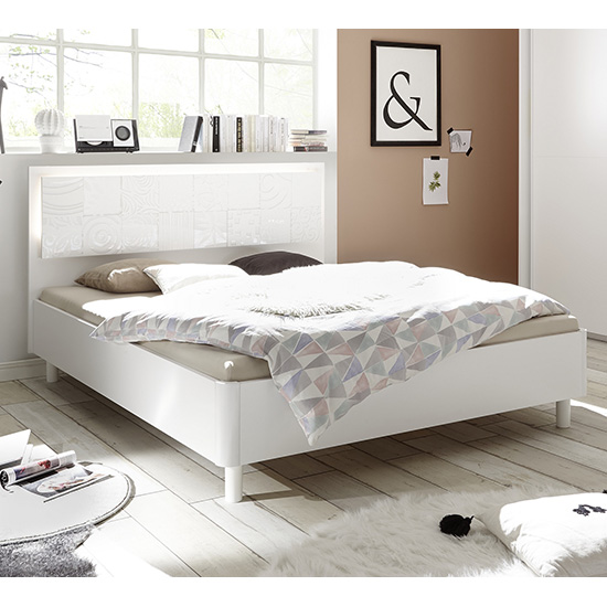 Soxa LED Wooden King Size Bed In Serigraphed White