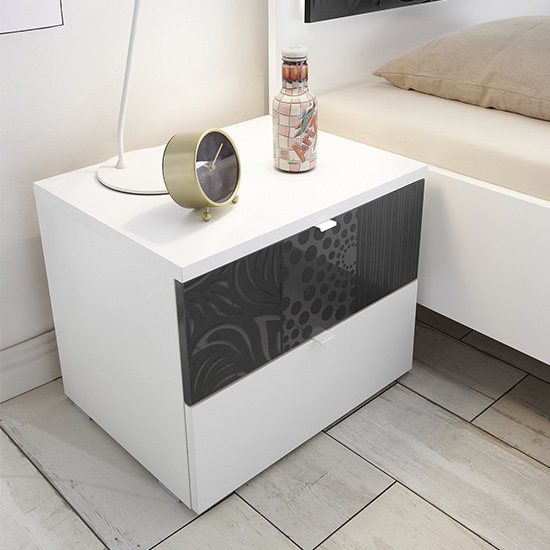 Soxa Wooden Nightstand In Serigraphed Grey With 2 Drawers