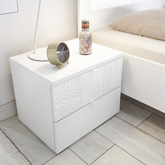Soxa Wooden Nightstand In Serigraphed White With 2 Drawers