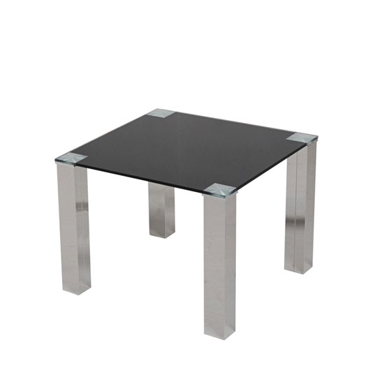 Sparkle Glass End Table In Black With Stainless Steel Base