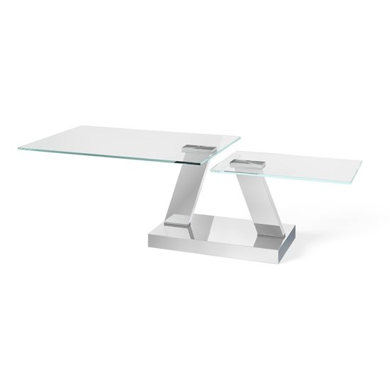 Sparta Swivel Extending Glass Coffee Table Polished Steel Base
