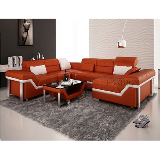 Orange Leather Sofa Set Modern Leather Sofa Set Orange Modern Furniture