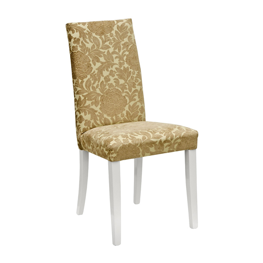 Spectra Lucia Gold Fabric Dining Chair With Wooden Legs