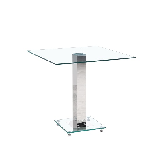 Spectra Glass Dining Table Square In Clear With Chrome Base