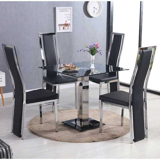 Spectra Black Glass Dining Set With 4 Collete Chairs