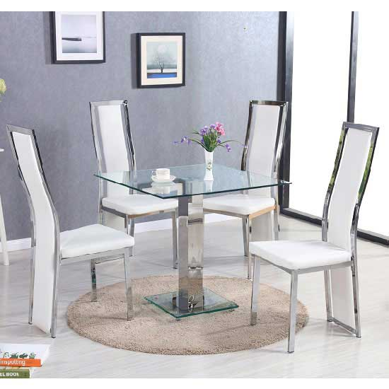 Spectra Glass Dining Table In Clear With 4 Collete White Chair
