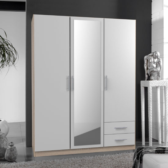 Spectral Mirrored 3 Door Wardrobe In White And Oak With 2 Drawer