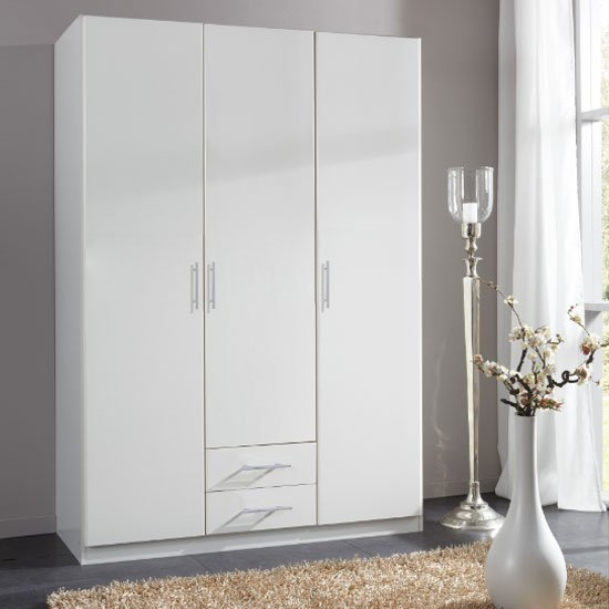 Spectral Tall 3 Doors Wardrobe In White With 2 Drawers