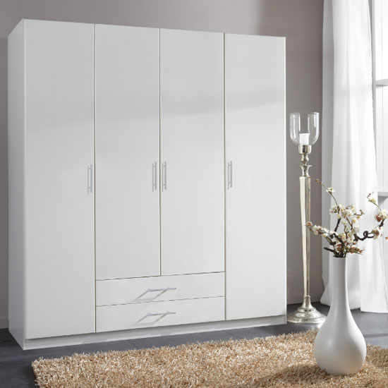 Spectral Wooden 4 Doors Wardrobe In White With 2 Drawers