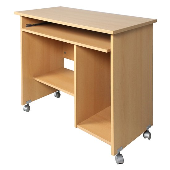 Compact Computer Trolley In Beech With Rollers_2