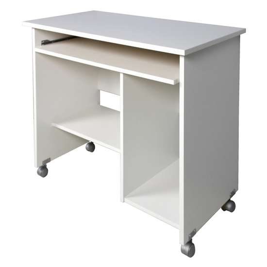 Compact Computer Trolley In White With Rollers_2