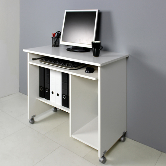 View Compact computer trolley in white with rollers