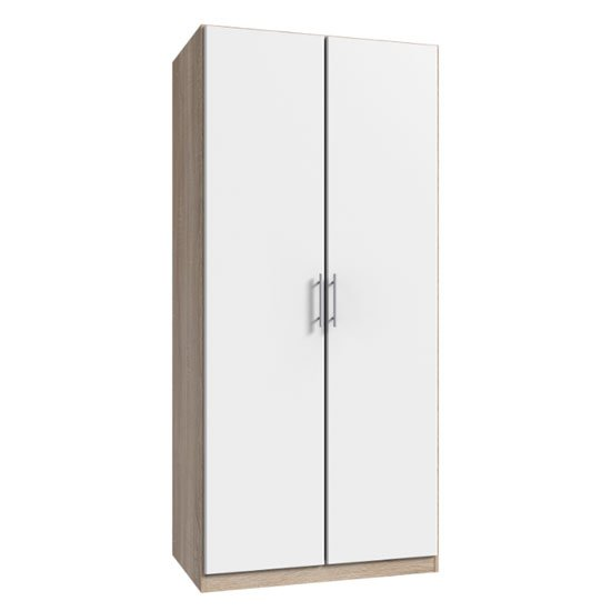 Spectral Wooden Tall Wardrobe In White And Oak With 2 Doors_1