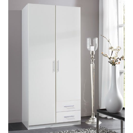 Spectral Wooden Wardrobe In White With 2 Drawers
