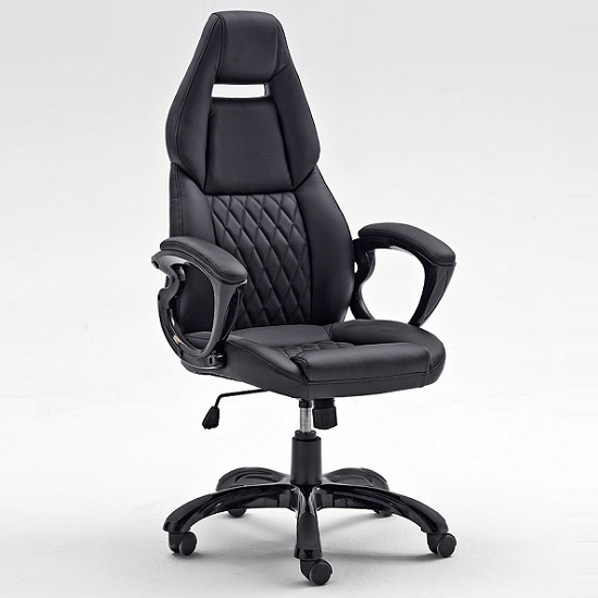 Spelter Office Chair In Black Faux Leather And High Gloss Base