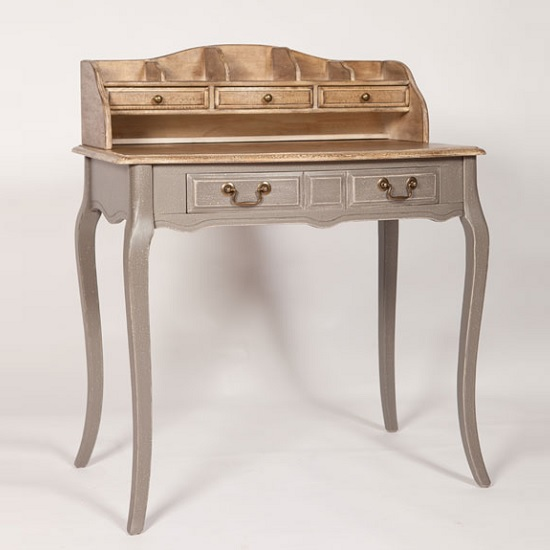 Spencer Wooden Bureau Desk In Grey With 5 Drawers 36010
