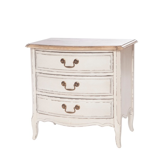 Spencer Wooden Chest Of Drawers In White With 3 Drawers