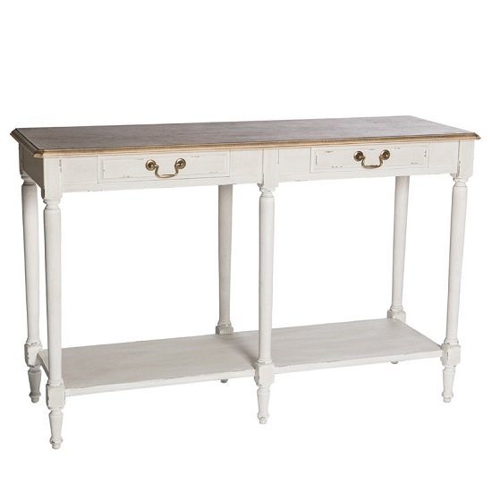 Spencer Wooden Console Table Large In White With 2 Drawers