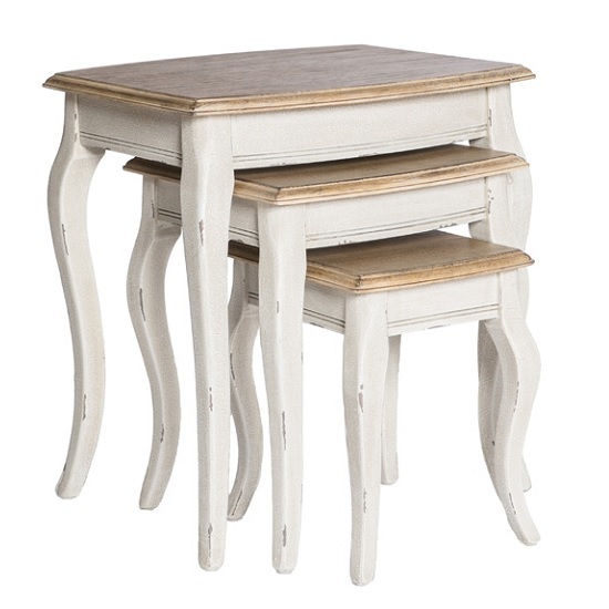 Spencer Wooden Nest Of Tables In White With 3 Tables