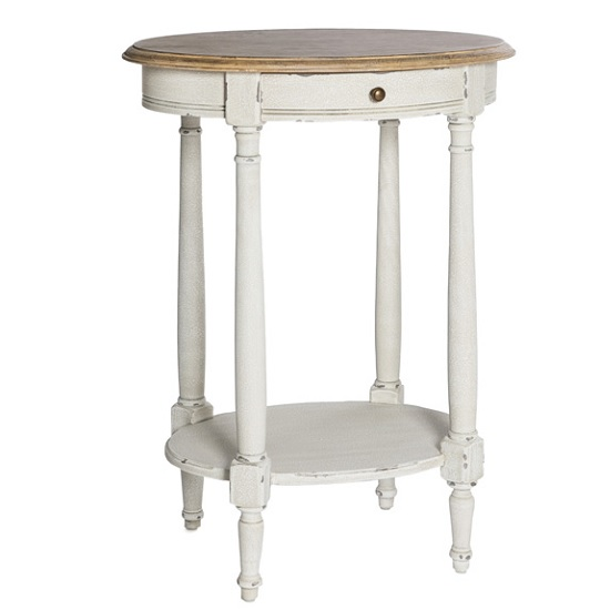 Spencer Wooden Side Table Oval In White With 1 Drawer 31167