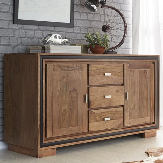 Spica 2 Doors 3 Drawers Large Sideboard In Natural Sheesham