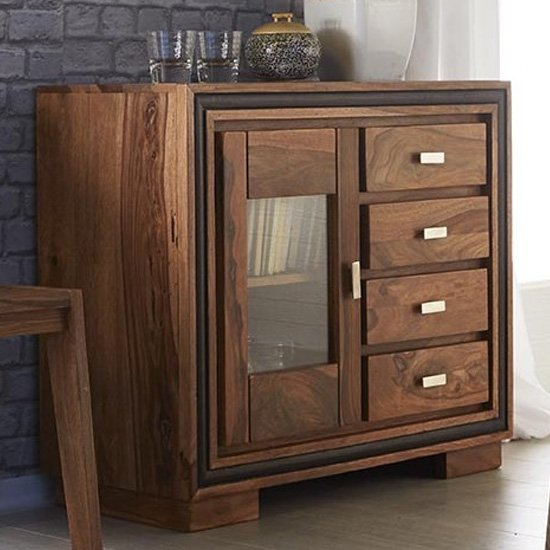 Spica Sideboard In Natural Sheesham With 2 Doors 3 Drawers