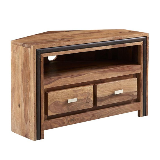 Spica Wooden Corner TV Stand In Natural Sheesham With 2 Drawers
