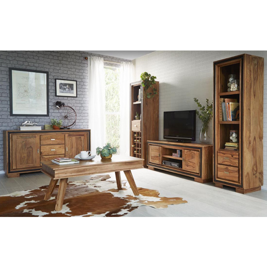 Spica Wooden Slim Bookcase In Natural Sheesham With 2 Drawers_2