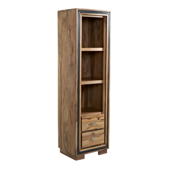 Spica Wooden Slim Bookcase In Natural Sheesham With 2 Drawers