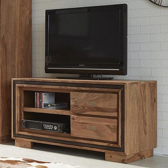Spica Wooden TV Stand In Natural Sheesham With 2 Drawers