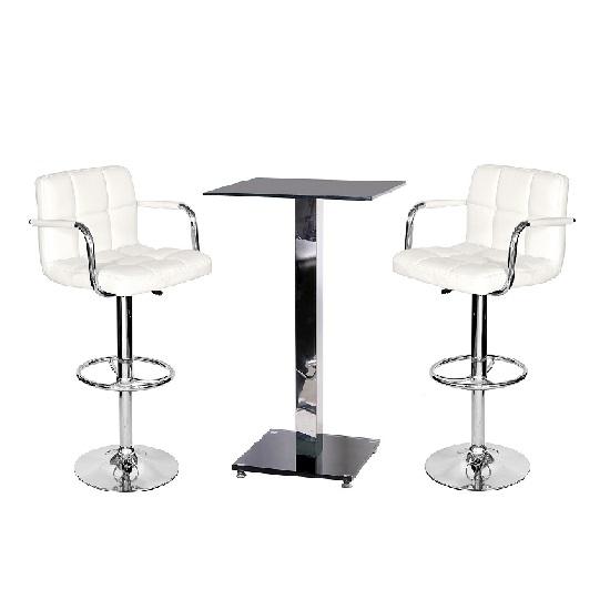 Spice Bar Table In Black Glass And 2 Glenn White Bar Stools