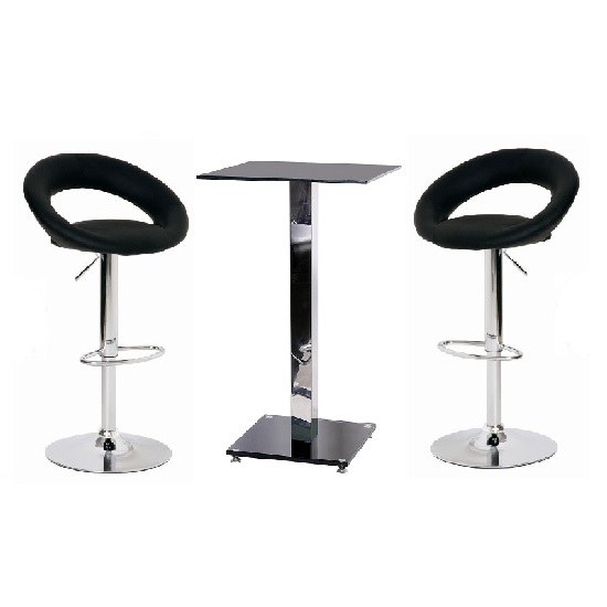 Spice Bar Table Set In Black Glass With 2 Leoni Bar Stools