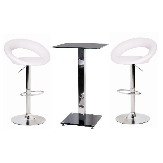 White Bar Table And Stools: Spice Bar Table In Black Glass With 2 Leoni White Bar