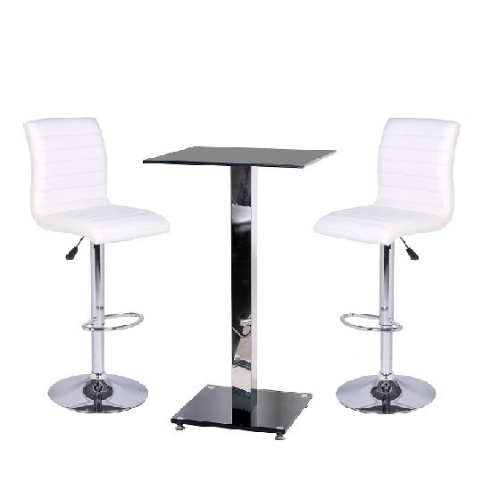 Spice Bar Table In Black Glass With 2 White Ripple Bar Stools