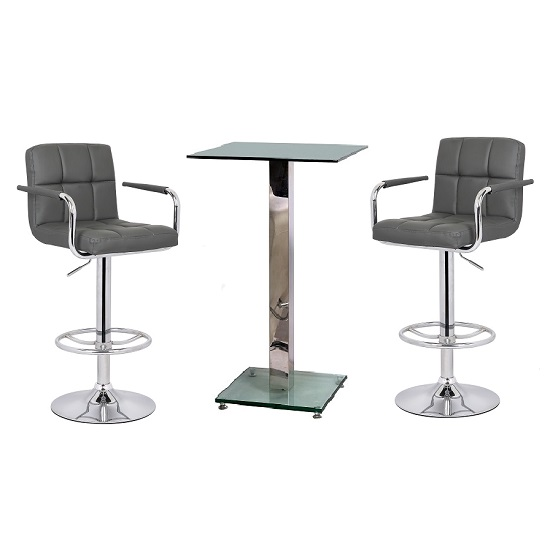 Spice Bar Table In Clear Glass And 2 Glenn Grey Bar Stools