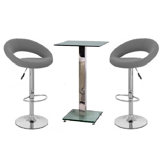 Spice Bar Table In Clear Glass And 2 Leoni Grey Bar Stools