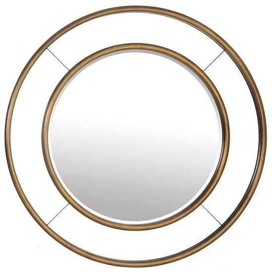 Spinello Contemporary Wall Mirror Round In Rich Gold