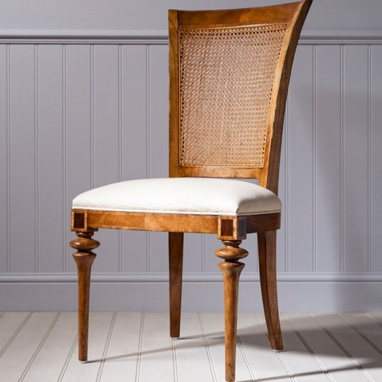 Spire Cane Back Side Dining Chair In Walnut